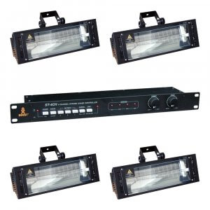 4x Equinox Wildzap Professional Strobe Machine (1500W) inc. Boost Controller