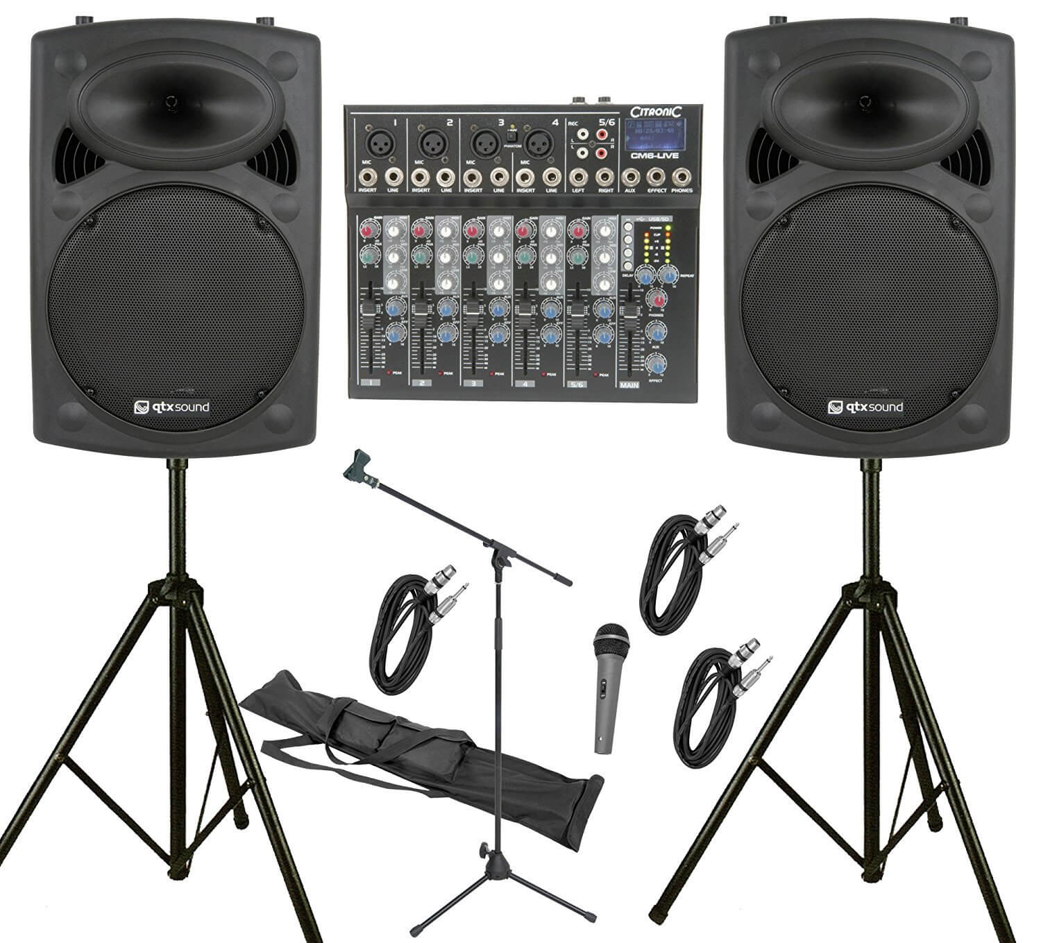 "QTX 800W, 6 Channel PA System with 12"" Active Speakers"