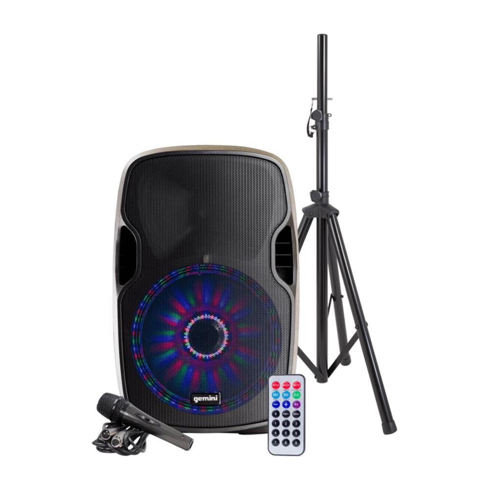 "Gemini AS-15BLU-LT Pack Active Speaker 15"" Woofer LED Array Bluetooth"