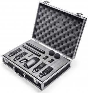 Stagg Drum Microphone Set inc. 7 Mics, 2 Clamps and Flightcase