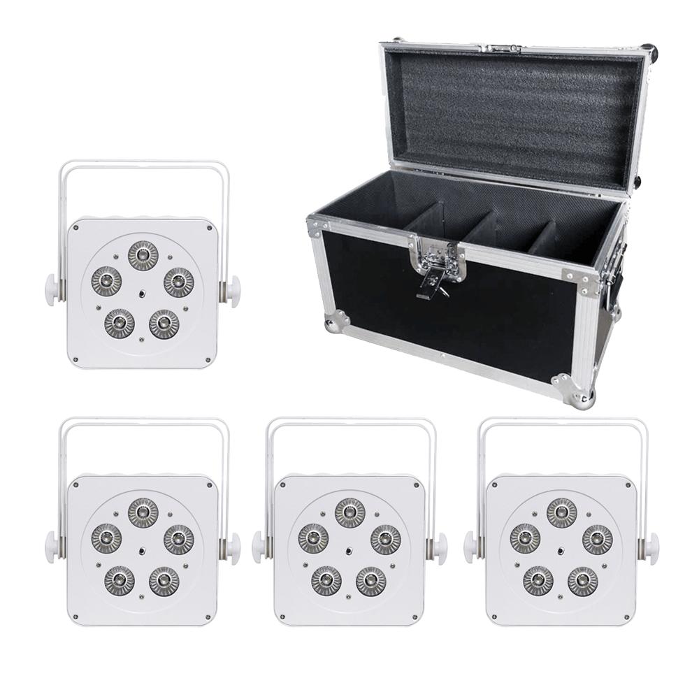 LEDJ 5Q5 LED Uplighter Slim Par Can RGBW White DJ Disco Venue Wedding Bundle