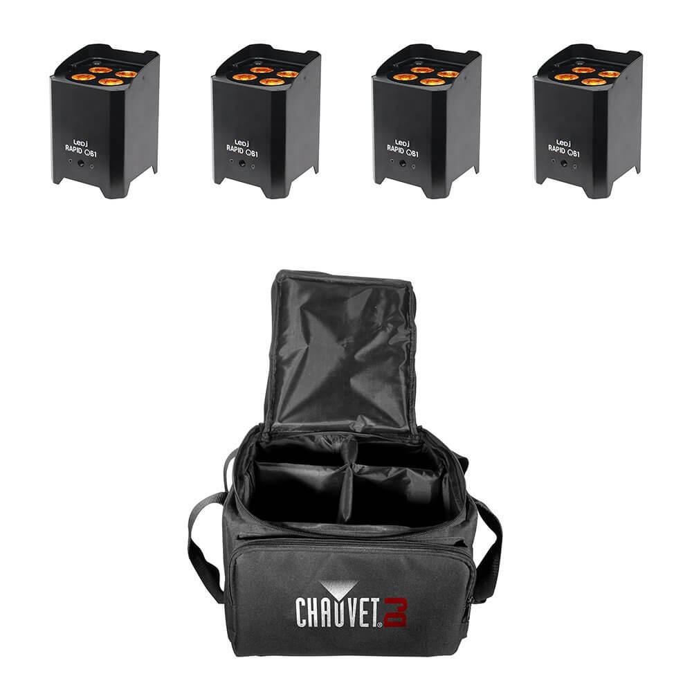 4x LEDJ Rapid QB1 Wireless LED Uplighter (RGBA) in Black Housing inc. Carry Bag
