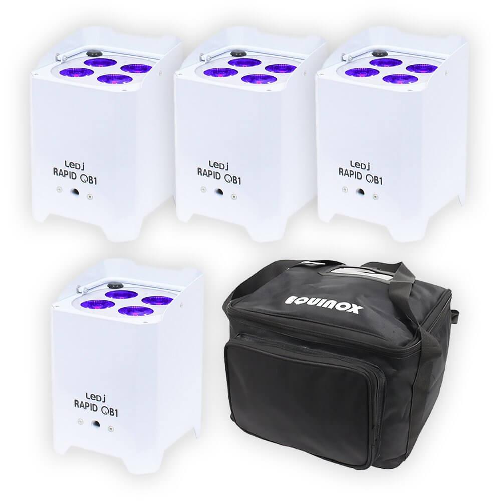4x LEDJ White Rapid QB1 Hex IP LED Uplighter IP54 Battery Wireless LED Outdoor Lighting