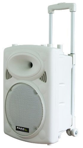 "Ibiza Sound Portable 10"" Battery Powered Bluetooth PA System inc Wireless Mics White"