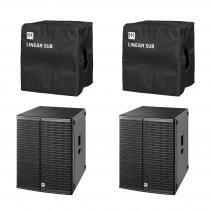 "2x HK Audio L SUB 1800A 18"" 1200W Active Subwoofer Bass Bin Speaker inc Covers"