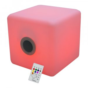 Ibiza Light Illuminated Outdoor Battery Powered IP44 LED Cube Weith Speaker & Bluetooth