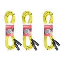 3x Chord XLR Cable (6m Yellow)
