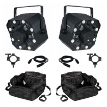 2x Showtec Dominator LED Effect 3 in 1 inc. Carry Bags, Clamps and Cables