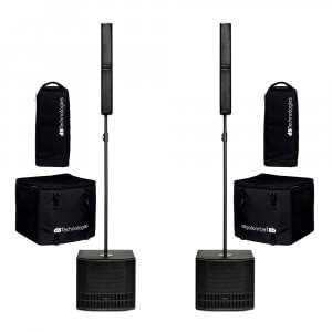 2x dB Technologies ES 802 1200W Active Compact Array Speaker Sound System With Covers Bundle