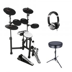 Carlsbro CSD130 Digital Drum Kit Electric Drums inc Stool, Sticks & Headphones Bundle