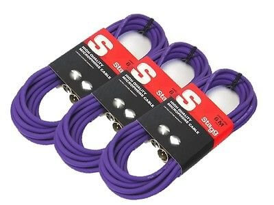 3x Stagg Microphone XLR Cables (6m Purple)