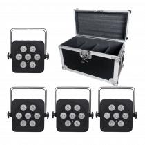 LEDJ 7Q5 LED Uplighter Slim Par Can RGBW Black DJ Disco Venue Wedding Bundle