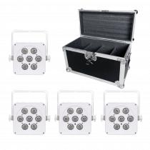 LEDJ 7Q5 LED Uplighter Slim Par Can RGBW White DJ Disco Venue Wedding Bundle