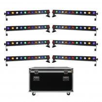 8x LEDJ Pixel Storm 12 Hex LED Batten Bar Uplighter 12 x 12W Package