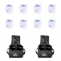 8x LEDJ Rapid QB1 Wireless LED Uplighter (RGBW) in White Housing inc. Carry Bags