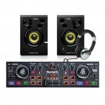 Numark DJ2GO MKII DJ Controller + Studio Monitor Speakers/ Headphones DJ Bundle