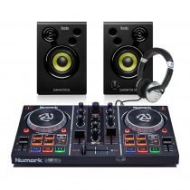 Numark PartyMix DJ Controller + Studio Monitor Speakers/ Headphones DJ Bundle