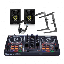 Numark PartyMix DJ Controller + Studio Monitor Speakers/ Headphones DJ Bundle 2