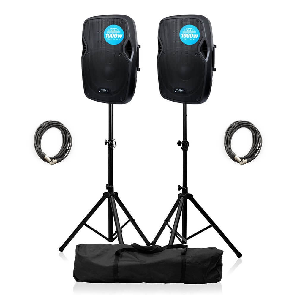 2x Kam RZ12A V3 Active 1000W Speaker DJ Disco Sound System PA Bundle