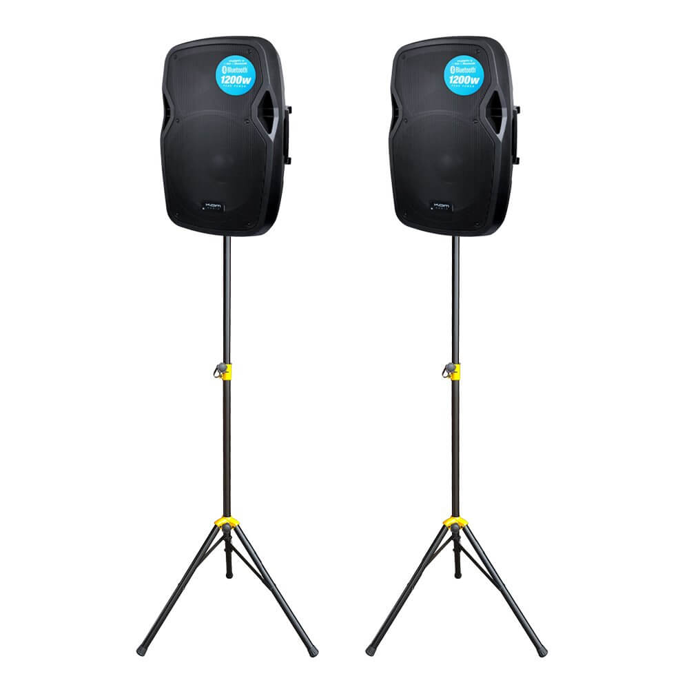 2x Kam RZ15A V3 1200W Active PA Speaker Bluetooth DJ Disco Sound System