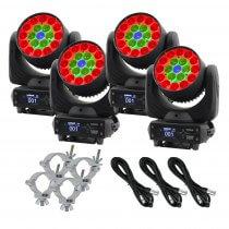 Equinox Fusion 260ZR LED Wash Moving Head 19 x 12W RGBW Zoom Bundle