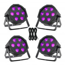 4x Equinox MaxiPar Quad LED Par Can Uplighter DMX DJ Lighting RGBW Bundle