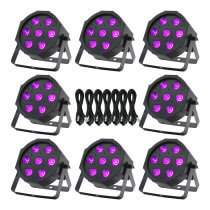 8x Equinox MaxiPar Quad LED Par Can Uplighter DMX DJ Lighting RGBW Bundle