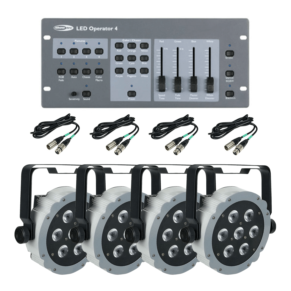 4x Showtec Compact Par 7 Q4 inc Controller & Cables