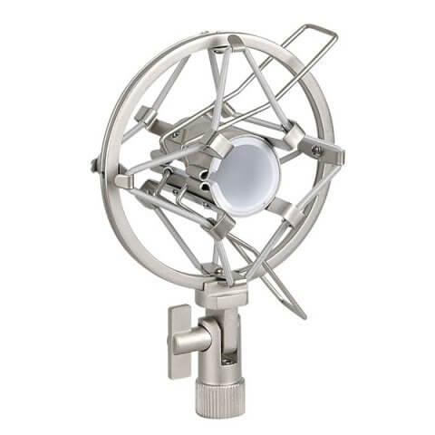 Silver Slim Anti Shock Mount Microphone Cradle 22-24mm Heavy Duty Metal