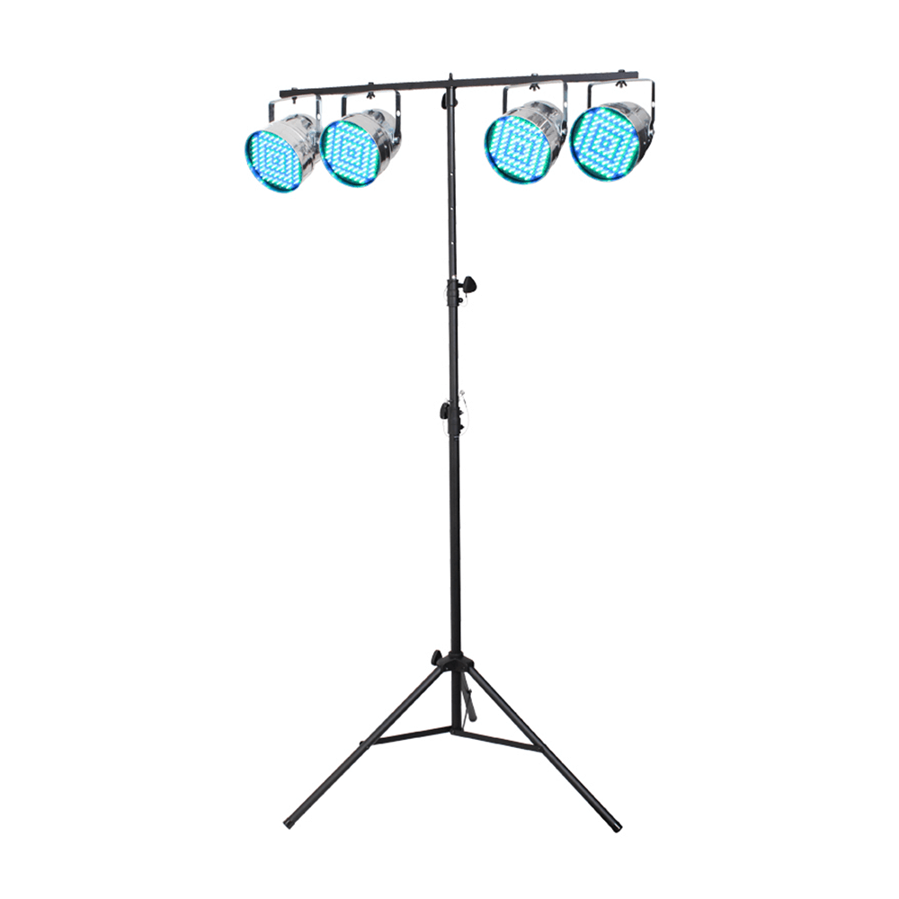 Equinox Chrome Party Par Pack of 4 LED 56 & Lighting Stand & Cables