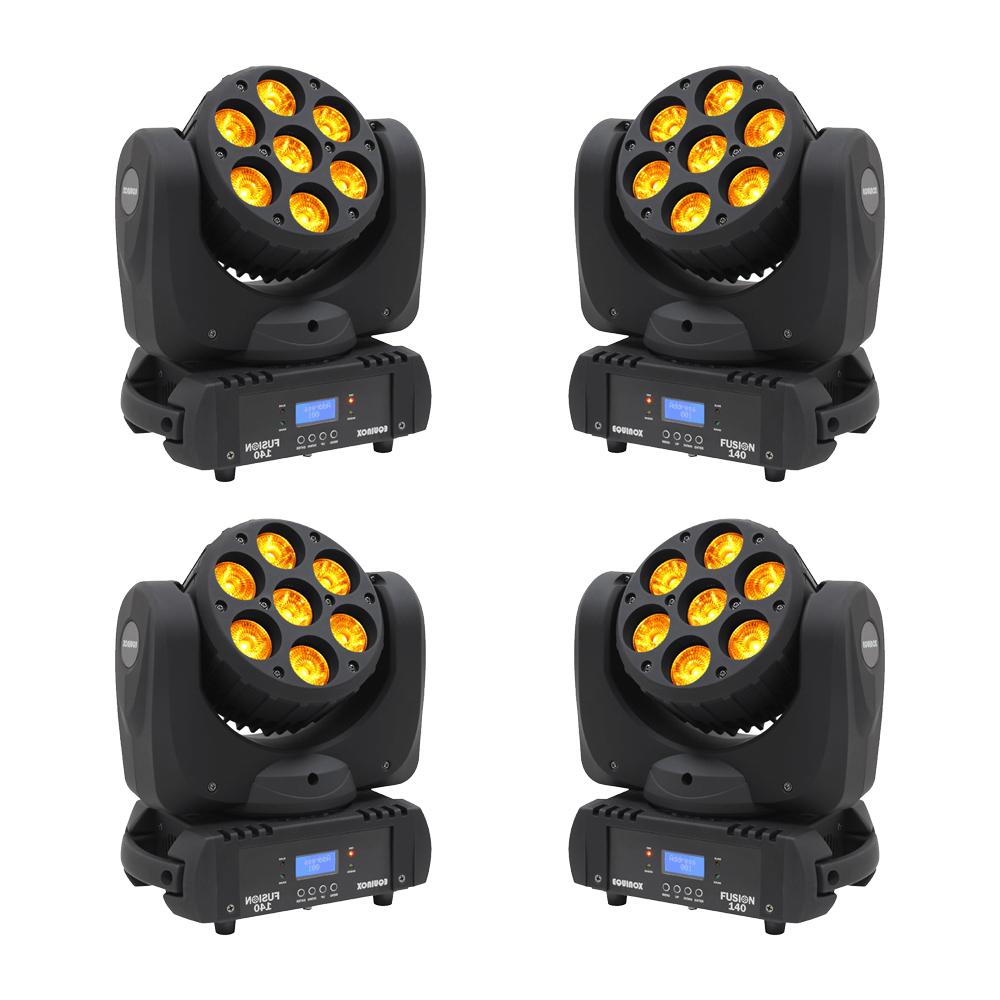 4x Equinox Fusion 140 Moving Head Wash 7 x 18W RGBWAUV