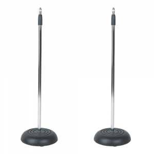 2x SoundLAB Microphone Stands with Heavy Cast Iron Round Base