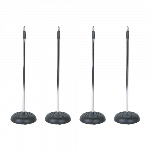4x SoundLAB Microphone Stands with Heavy Cast Iron Round Base
