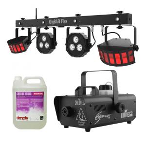 Chauvet DJ Disco Pro Bundle Party Lighting Smoke Machine Effect LED Light
