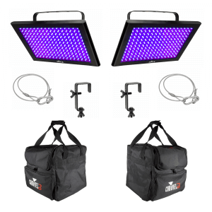 2x Chauvet DJ LED Shadow UV Panels inc. Carry Bags, Safety Bonds and Clamps