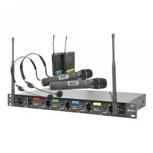 Chord QU4-C Quad UHF Neckband Headset Handheld Wireless Radio Mic System Combo