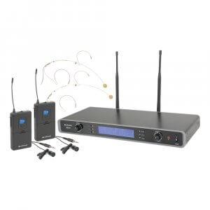 Chord RU210H Dual UHF Beltpack Headset Lapel Microphone System Wireless Radio Mic