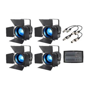 4x eLumen8 MP75 RGBW LED Fresnel Light Bundle inc. DMX Cables & Lighting Console