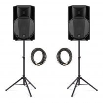 "2x RCF ART735-A (MK4) 1400W 15"" Active Speakers inc. Stands and Cables"