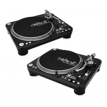 2x Omnitronic DD-5220L Turntables Black