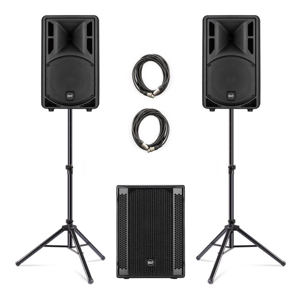 2x RCF ART-310A + 702-AS II Subwoofer PA Package 3000W DJ Disco Band Sound System