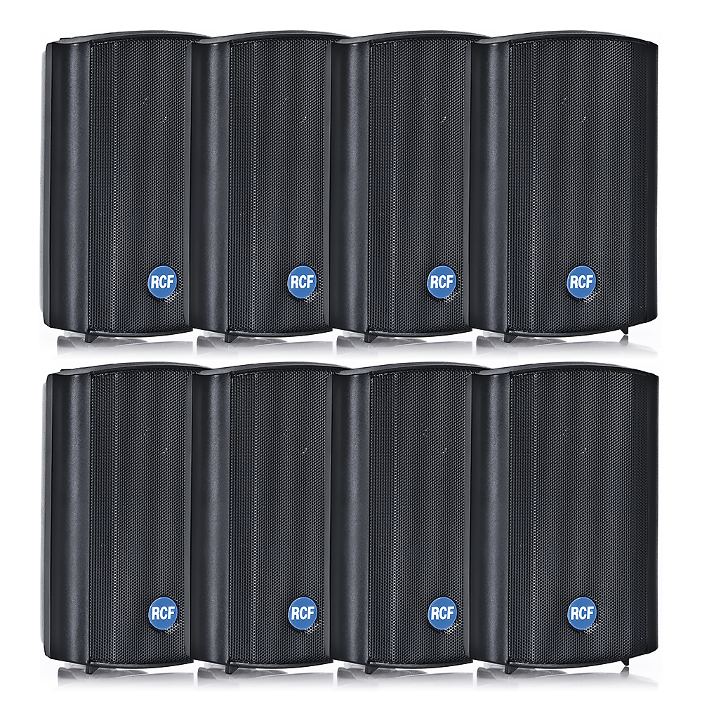 8x RCF DM41B 30W 100V IP55 Rated Background Speakers (Black)