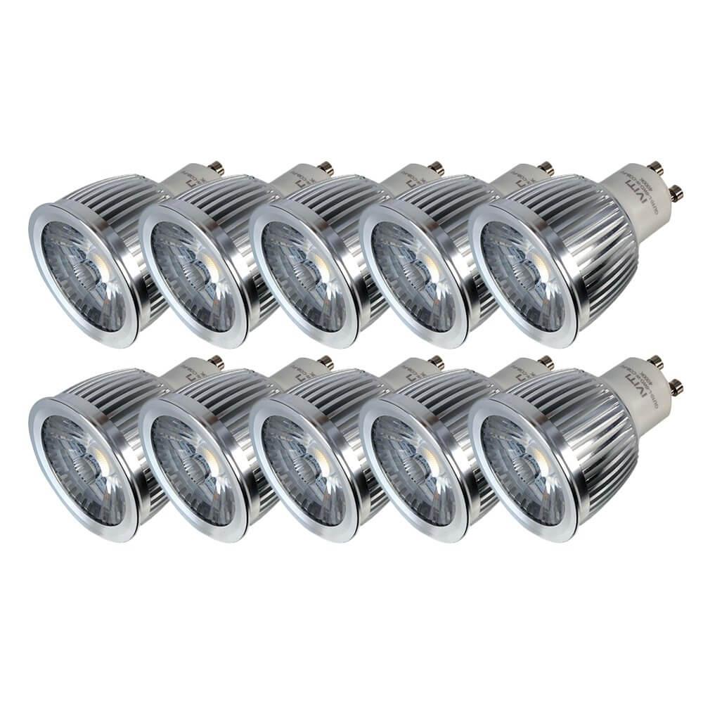 10x GU10 LED 6W COB Dimmable Daylight White 4000K Lamp Bulb