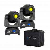 2x ADJ Focus Spot 2X LED Moving Head 100W Lighting 2x Prism Effect Bundle with Case