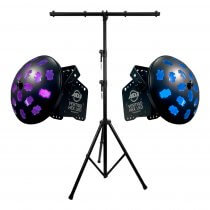 2x ADJ Vertigo Hex LED Lights inc. Stand