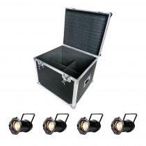 4x ADJ PAR Z100 3K 100W Zoom PAR64 (Warm White LED) inc. Equinox Flightcase