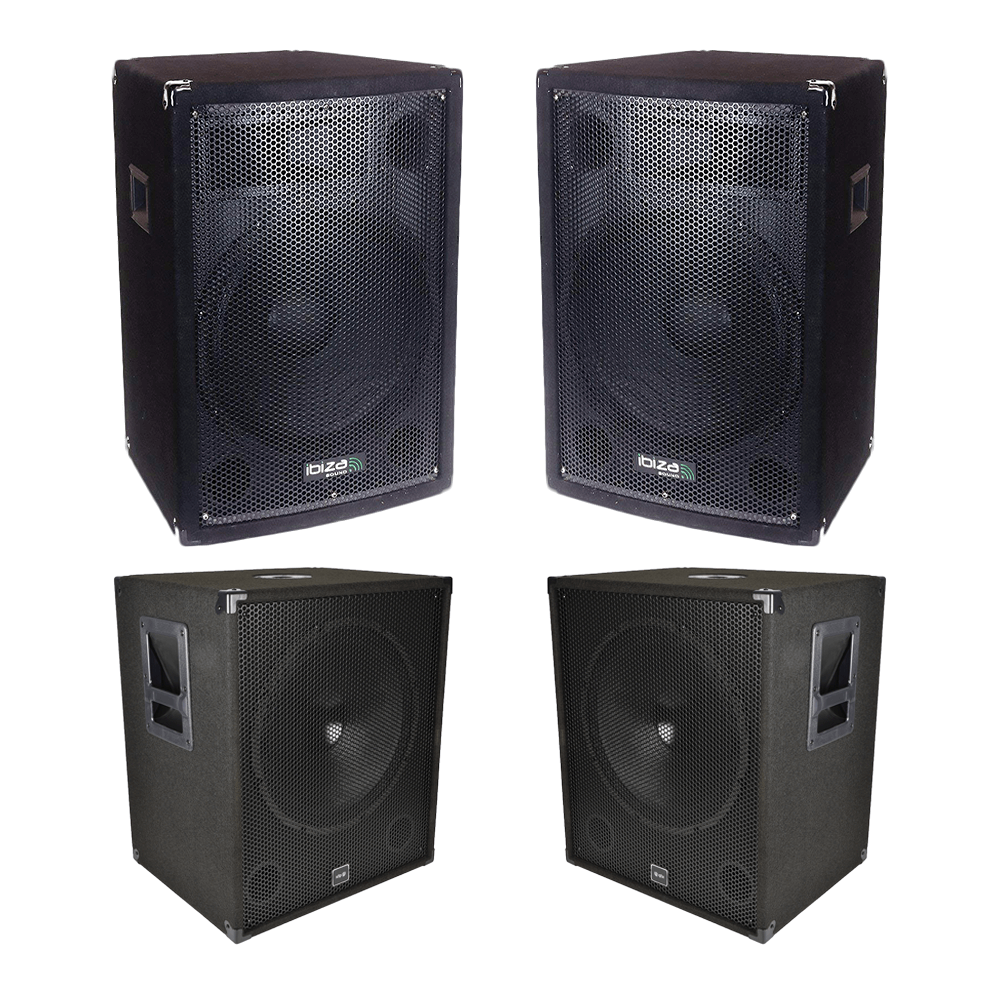 "QTX Sound System 1800W DJ Disco Sound System 2x 12"" Top + 2x 15"" Sub"