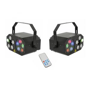 2x QTX LED Gobo Starwash Laser Effects Light inc. Remote