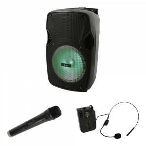 "QTX PAL10 10"" Portable Speaker inc. Wireless Handheld and Headset Mic"