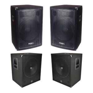 """QTX Sound System 1800W DJ Disco Sound System 2x 12"""" Top + 2x 15"""" Sub"""